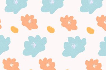 Colorful pastel flowers hand drawn pattern background