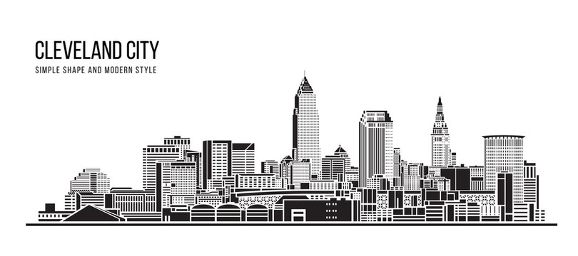 Cityscape Building Abstract Simple shape and modern style art Vector design - Cleveland city