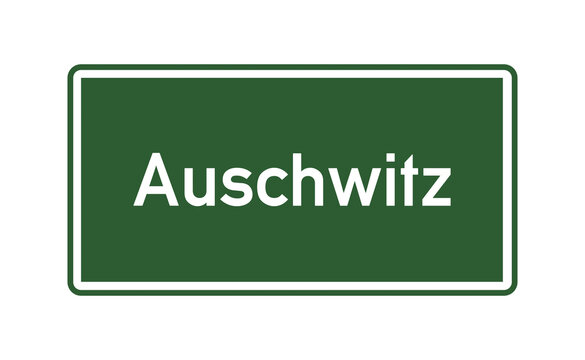 Auschwitz city limits road sign in Poland
