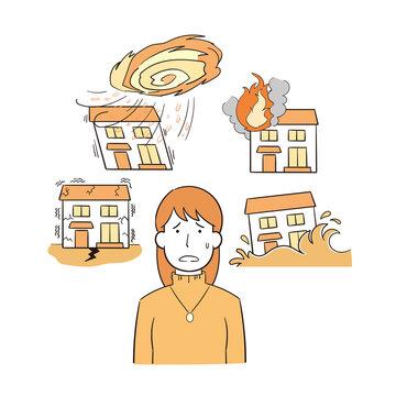 災害による住宅被害を心配する女性