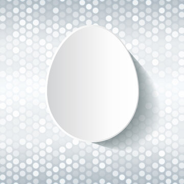 Easter card template - simple white egg on silver grey and white shiny background