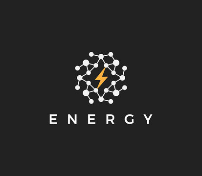 Energy technology flat style vector logo concept. Abstract round logotype with dots structure and sparkle, isolated icon on black background for electrical innovate business and startup