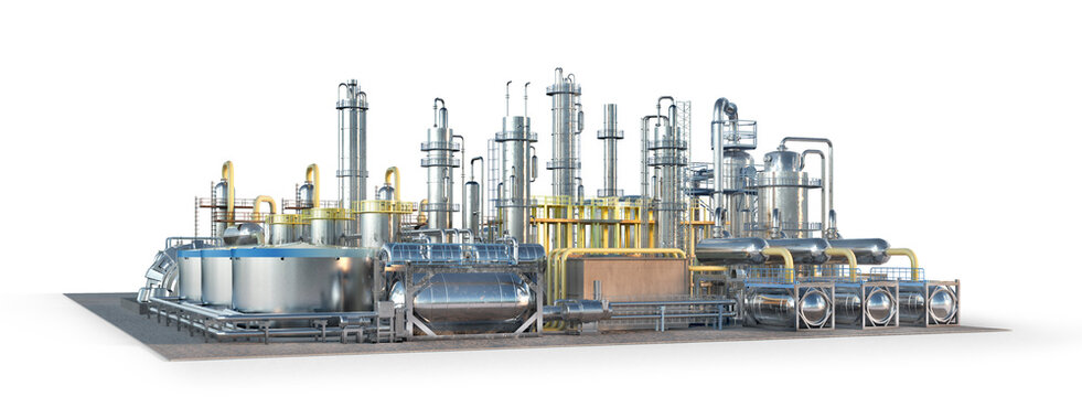 Factory. Isolated on white background. 3d illustration