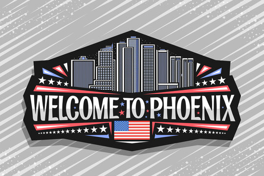 Vector logo for Phoenix, black badge with outline illustration of famous phoenix city scape on dusk sky background, art design tourist fridge magnet with unique lettering for words welcome to phoenix.