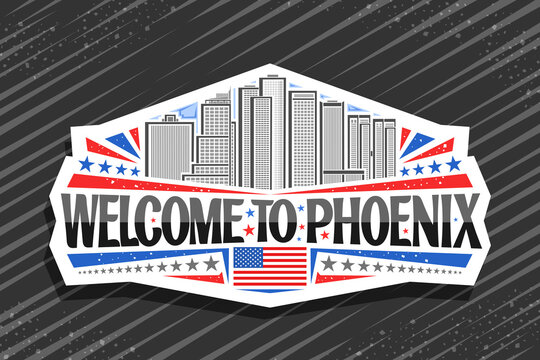 Vector logo for Phoenix, white decorative sticker with illustration of famous phoenix city scape on day sky background, art design fridge magnet with unique letters for black words welcome to phoenix.
