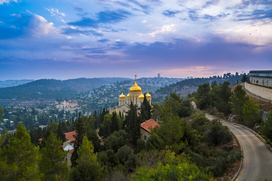"""Green Judean hills around Ein Karem neighborhood, biblical birth place of John the Baptist, with Russian Orthodox Church of Gorny or """"Moscobia"""" Convent - the Baptist; Jerusalem Israel"""