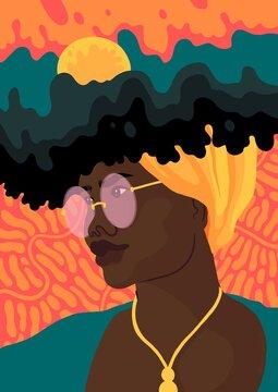 Frau mit dunkler hautfarbe und einem gelben Kopftuch. In ihrem Haar entsteht eine Welt der Fantasie. Sie trägt eine runde Brille.