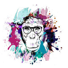 Colorful artistic monkey's head in eyeglasses on background with colorful creative elements