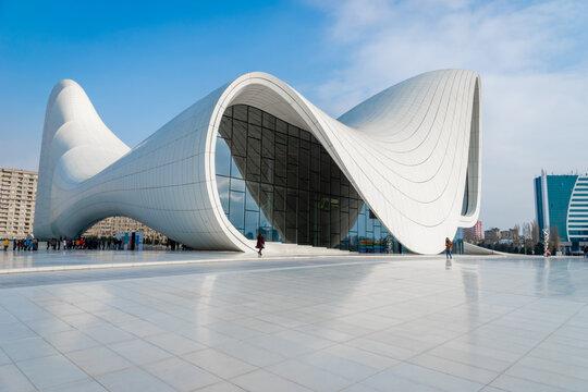 Baku, Azerbaijan - December 2019: Heydar Aliyev Center architecture, the popular landmark for tourists and visitors was designed by architect Zaha Hadid.
