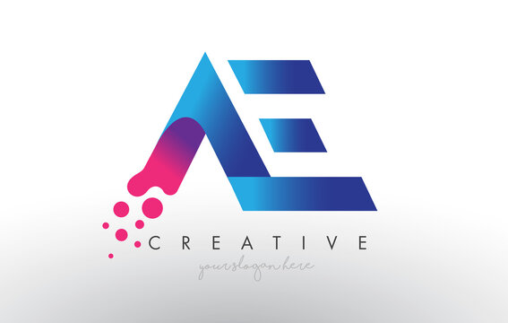AE Letter Design with Creative Dots Bubble Circles and Blue Pink Colors