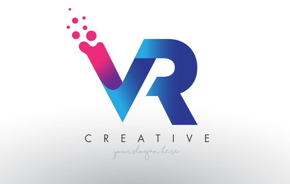 VR Letter Design with Creative Dots Bubble Circles and Blue Pink Colors