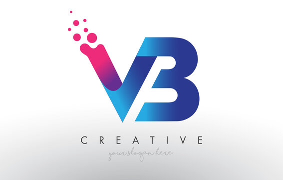 VB Letter Design with Creative Dots Bubble Circles and Blue Pink Colors