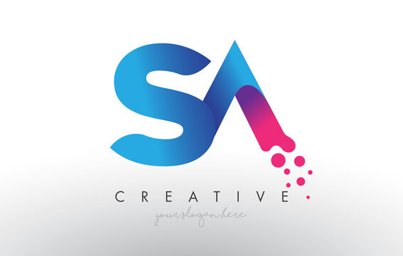 SA Letter Design with Creative Dots Bubble Circles and Blue Pink Colors