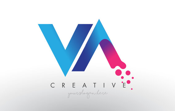 VA Letter Design with Creative Dots Bubble Circles and Blue Pink Colors