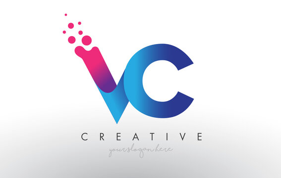 VC Letter Design with Creative Dots Bubble Circles and Blue Pink Colors