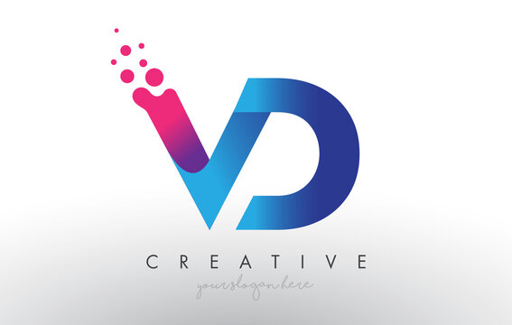 VD Letter Design with Creative Dots Bubble Circles and Blue Pink Colors