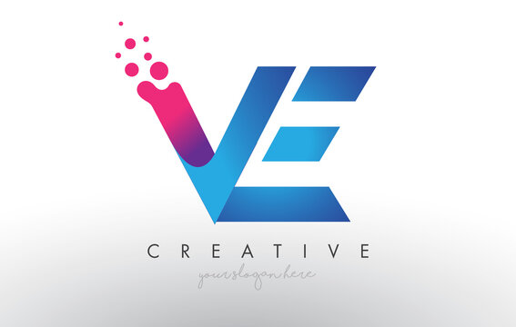 VE Letter Design with Creative Dots Bubble Circles and Blue Pink Colors