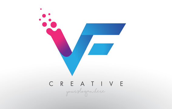 VF Letter Design with Creative Dots Bubble Circles and Blue Pink Colors
