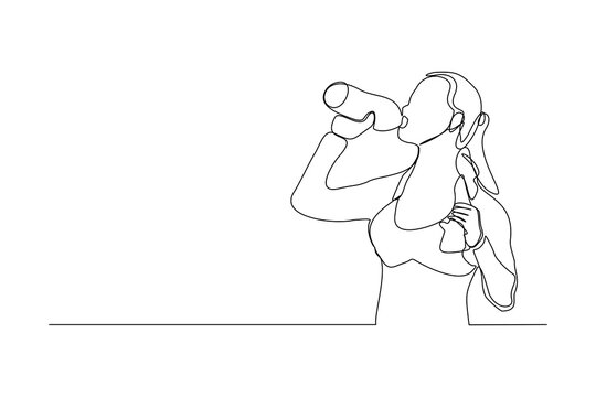 Continuous line drawing of sporty woman drink energy water from bottle. One line art concept of healthy life style. Vector illustration