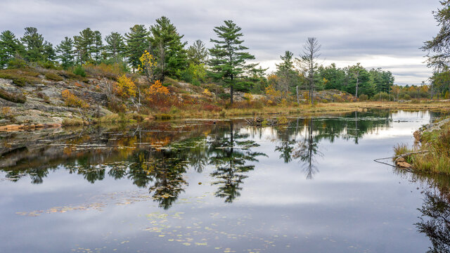 Typical canadian shield landscape during, here in French River Provincial Park