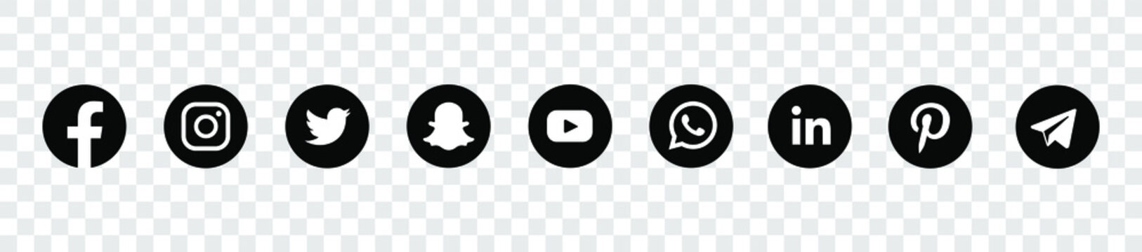 Social media icons. Black colored icon set illustration. facebook twitter instagram, youtube, twitter, snapchat, pinterest, whatsap icon.