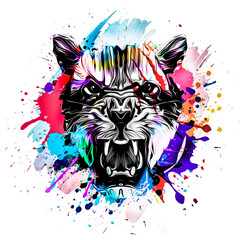Bright abstract colorful background with tiger, paint splashes