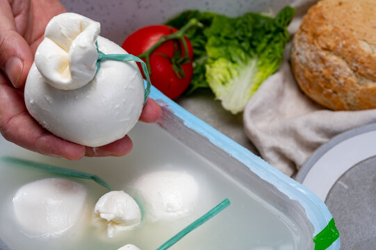 Cheese maker holds in hand fresh soft Italian cheese from Puglia, white balls of burrata or burratina cheese made from mozzarella and cream filling