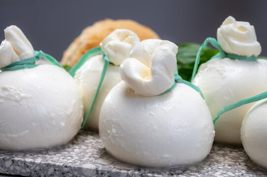 Cheese collection, fresh soft Italian cheese from Puglia, white balls of burrata or burratina cheese made from mozzarella and cream filling