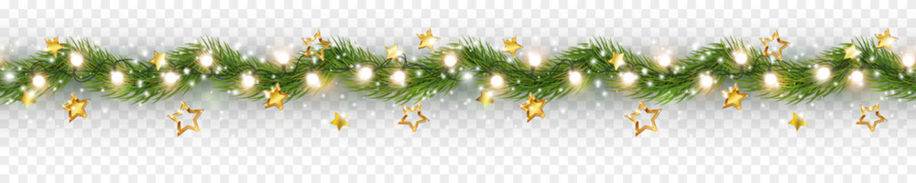 Border with green fir branches, gold stars, lights isolated on transparent background. Pine, xmas evergreen plants seamless banner. Vector Christmas tree garland decoration