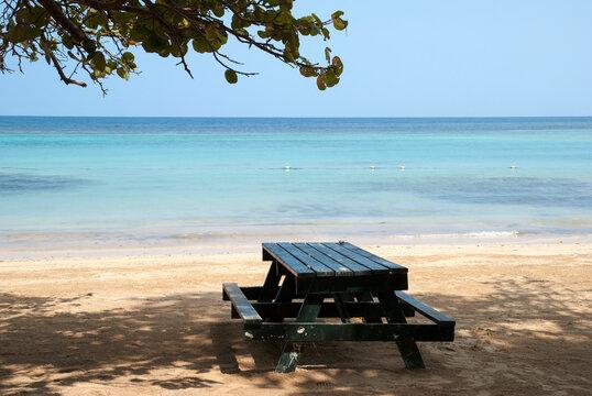 Jamaica's Ocho Rios Resort Town Beach Picnic Table