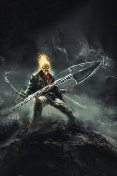grim reaper with a burning skull, with a chain - fantasy illustration