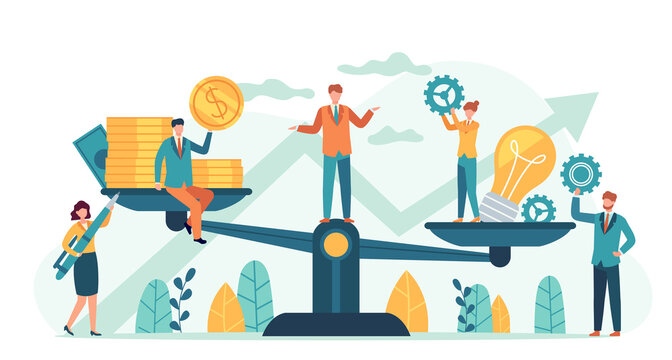 Money and idea balance. Investor compare business ideas and finance on scales. Buying creative project or startup, tiny human vector. Illustration idea equality profit, harmony and balance investment