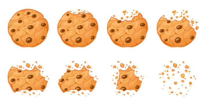 Bitten chocolate chip cookie. Crunch homemade brown biscuits broken with crumbs. Cartoon baked round choco cookies bite animation vector set. Illustration animation disappear choco crumb piece bakery
