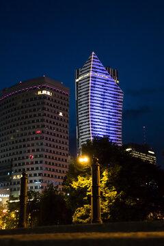 Liebskind sail, Polish skyscraper, highest building of Warsaw illuminated by night. Zlota 44 building, place of Lewandowski apartament.