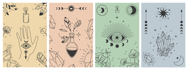 Obraz Mystical boho posters. Esoteric line prints with astrology symbols, crystals, potion, evil eye and occult hand. Tarot card vector concepts. Illustration esoteric astrology print, occult symbol - fototapety do salonu