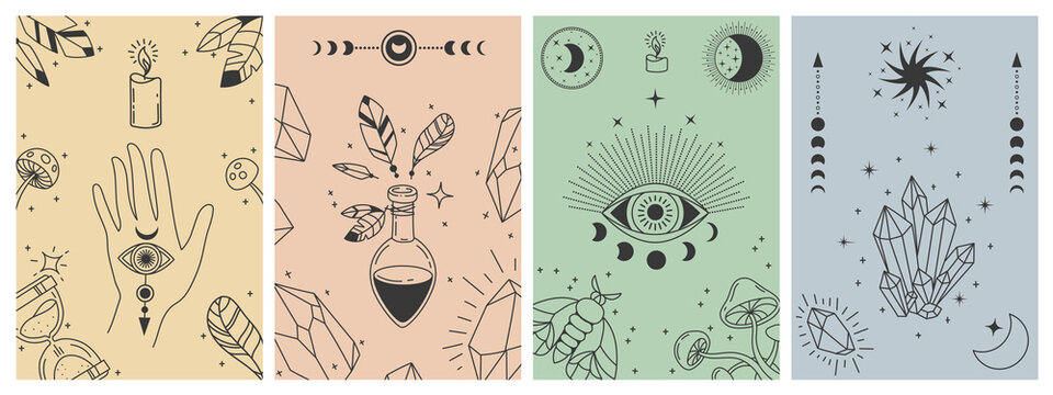 Mystical boho posters. Esoteric line prints with astrology symbols, crystals, potion, evil eye and occult hand. Tarot card vector concepts. Illustration esoteric astrology print, occult symbol