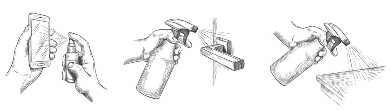 Surface cleaning sketch. Disinfect house surfaces and door handle with sanitizer sprays. Hands hold spray and clean phone screen, vector set. Sketch hygiene and prevention disinfection illustration