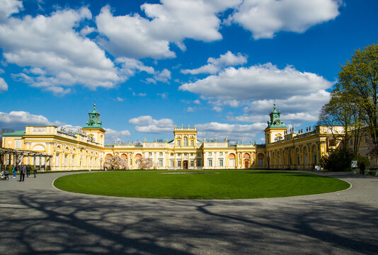 Warsaw, Poland -  04.17.2014: front panoramic view of Wilanow Palace in Warsaw,Poland