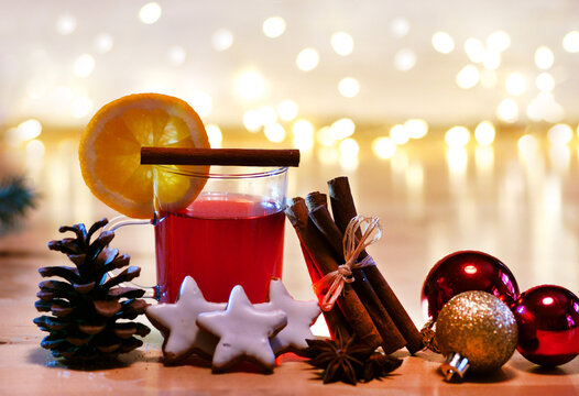 Hot wine punch with christmas decoration, copy space