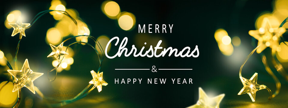 Art Merry Christmas and Happy New Year Greeting card or Banner concept, Christmas tree Light decoration.