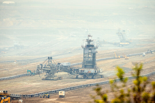 Surface mine raw material extraction plant.