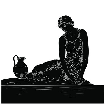 A young ancient Greek woman sits on the bank of the river with a bowl and collects water in a jug. Black silhouette isolated on white background.