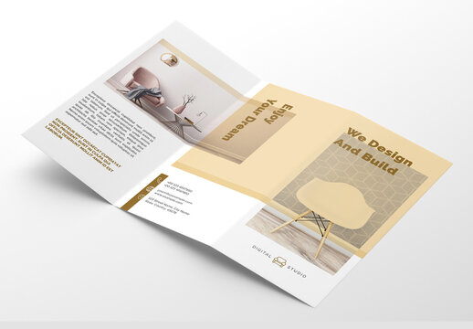 Interior Trifold Brochure Layout with Golden Accents