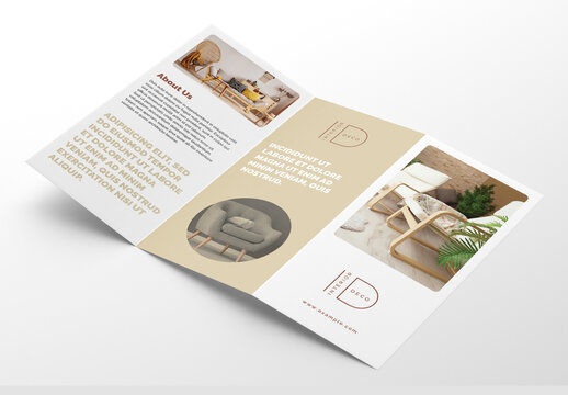 Interior Trifold Brochure Layout with Beige Accents