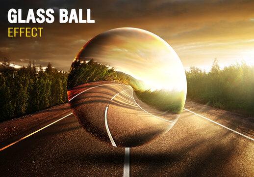 Glass Ball Photo Effect Mockup