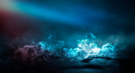 Dark street, neon light, smoke. Abstract dark background with neon glow, Wet asphalt, reflection on the water. Neon Rays and Lines. Fotomurales