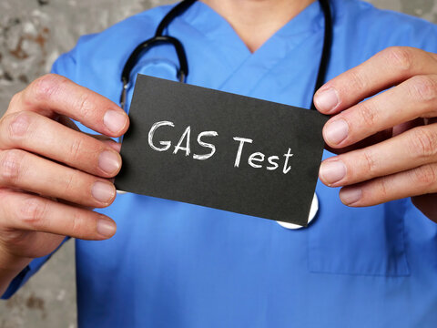 Rapid Strep Test GAS Test sign on the piece of paper.