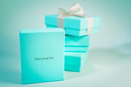 Barcelona, Spain. November 2020: Tiffany jewellery gift box