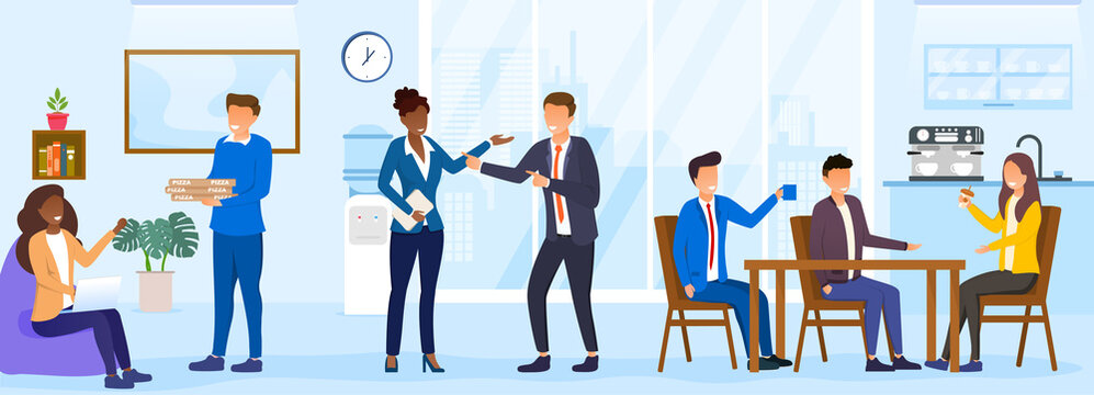 Lunch time concept. Diverse colleagues having break for lunch with coffee and pizza. Happy workers in workplace. People working in office. Corporate culture concept. Flat cartoon vector Illustration
