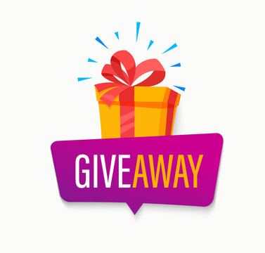 Giveaway banner, Win poster with isolated gift box with prize to winner. Template design for social media posts, web bannerswith bubble. Offer reward in contest, vector illustration.